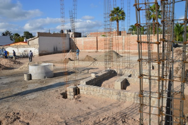 The walls in the foreground will be restrooms. The wall in the middle of the picture is for the sanctuary.