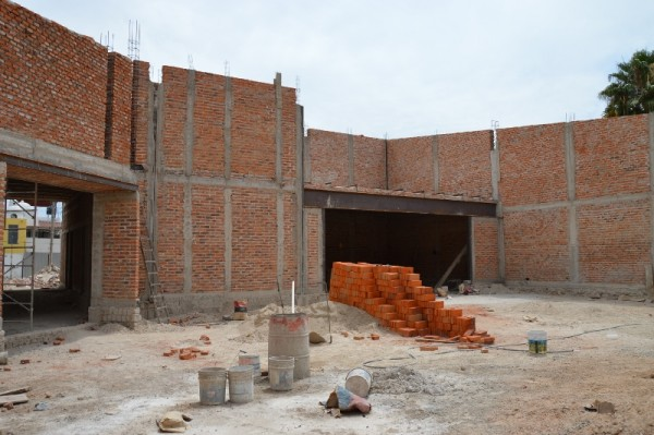 Facing the back of the sanctuary. The room on the right will be a classroom for the Lakeside Institute of Theology.